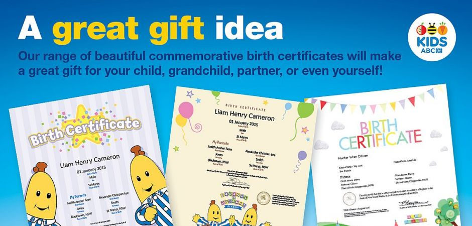 ABC Kids Birth Certificates